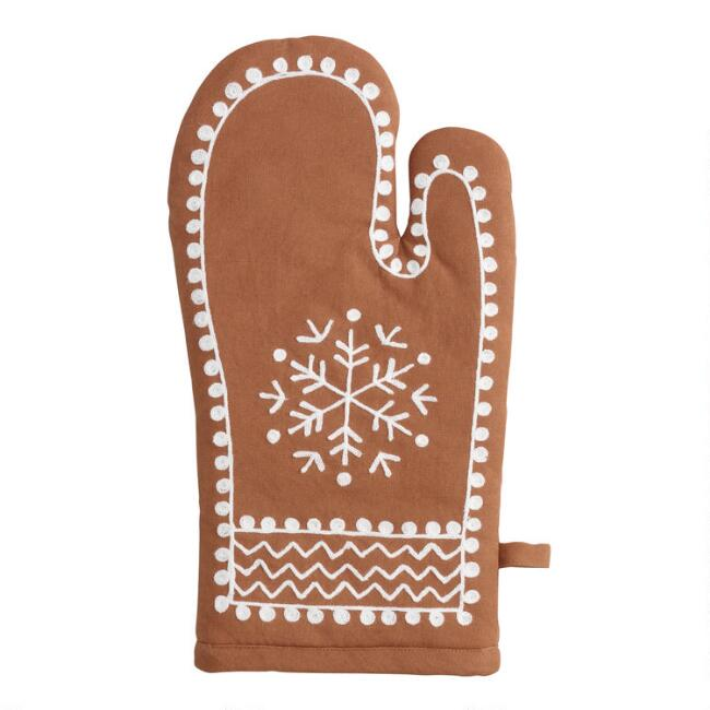 Embroidered Gingerbread Oven Mitt