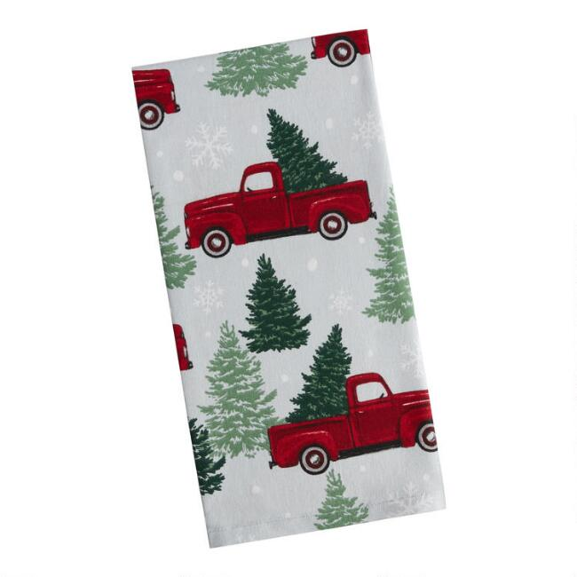 Light Blue Truck with Pine Tree Kitchen Towel