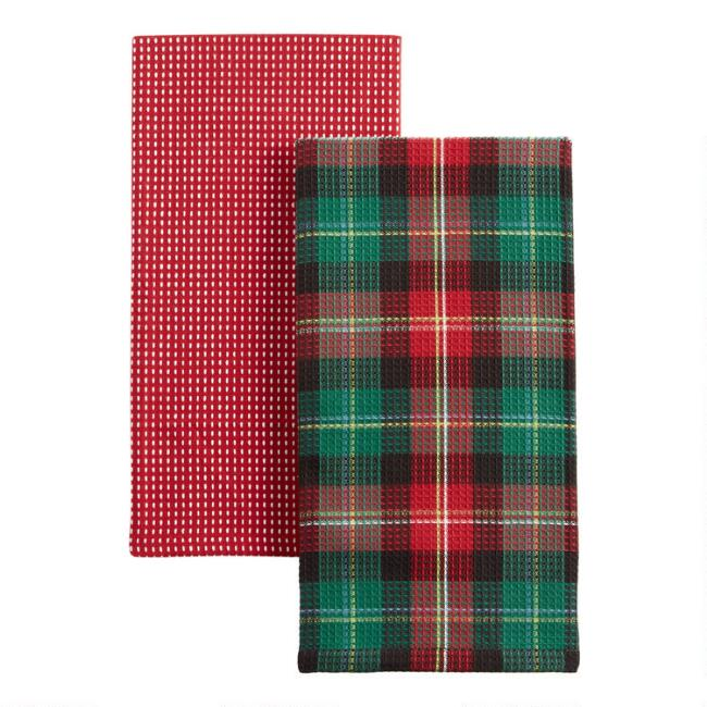 Holiday Tartan and Ticking Stripe Kitchen Towels 2 Pack