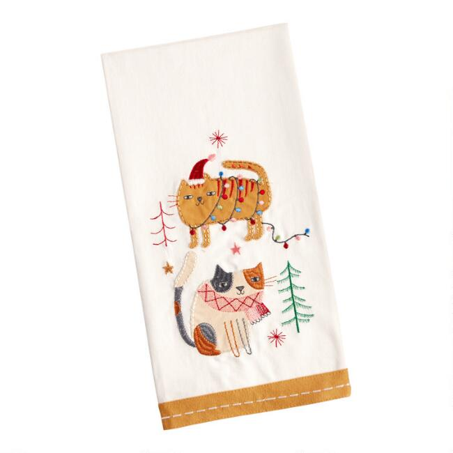 Embroidered Holiday Cats Kitchen Towel