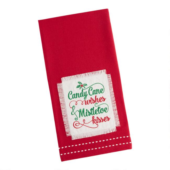 Red Candy Cane Wishes Kitchen Towel