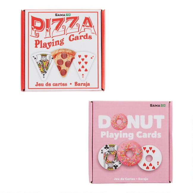 Pizza and Donut Shaped Playing Cards Set of 2