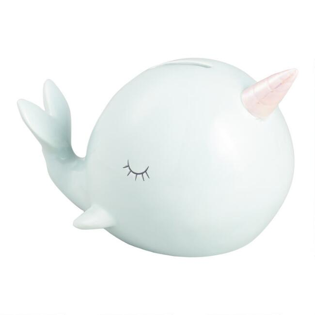 Pastel Narwhal Ceramic Coin Bank
