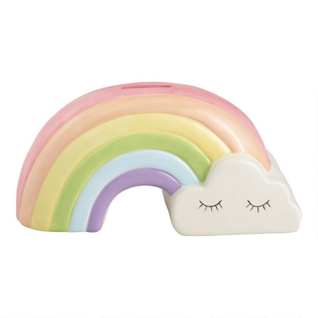 Pastel Rainbow Ceramic Coin Bank