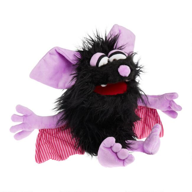 Living Puppets Shaggy Black Bat Hand Puppet
