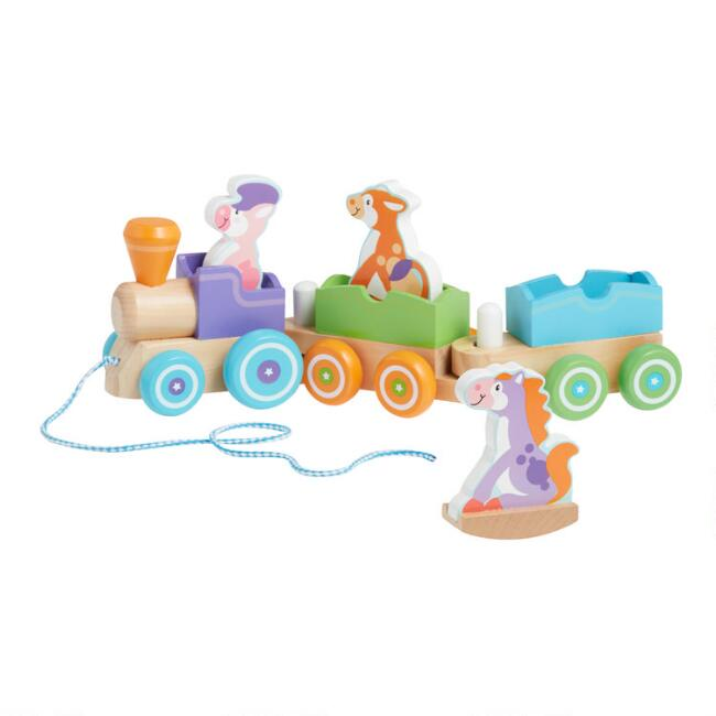 Melissa & Doug First Play Wooden Rocking Farm Animals Train