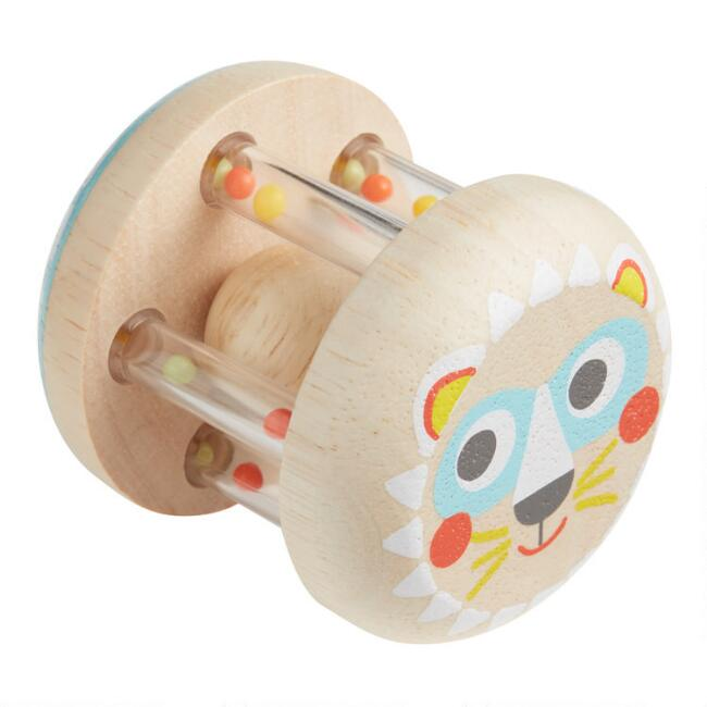 Djeco Wood Lion Baby Rattle