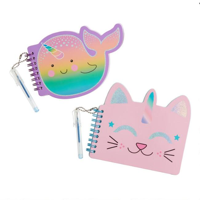 Mini Cat and Narwhal Notebooks with Pens Set of 2