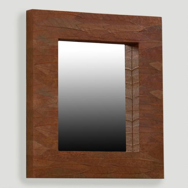 Mahogany Leaf Rectangular Mirror