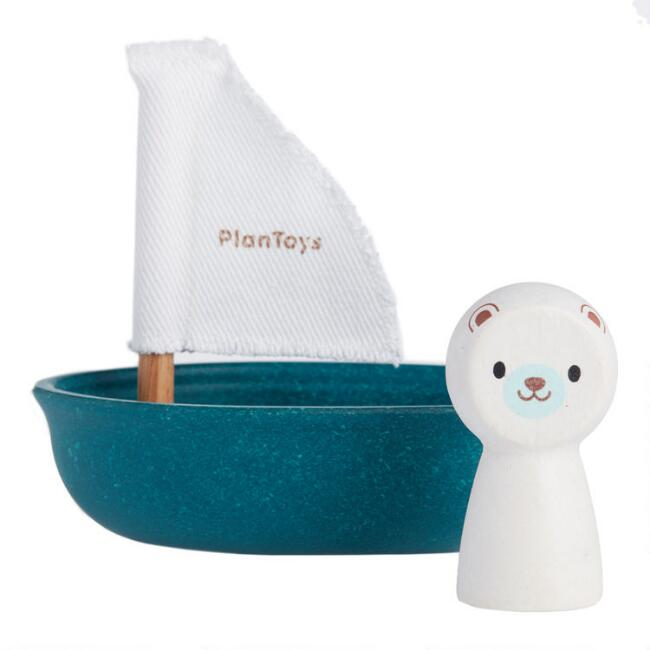 PlanToys Sailing Boat Polar Bear Bath Toy