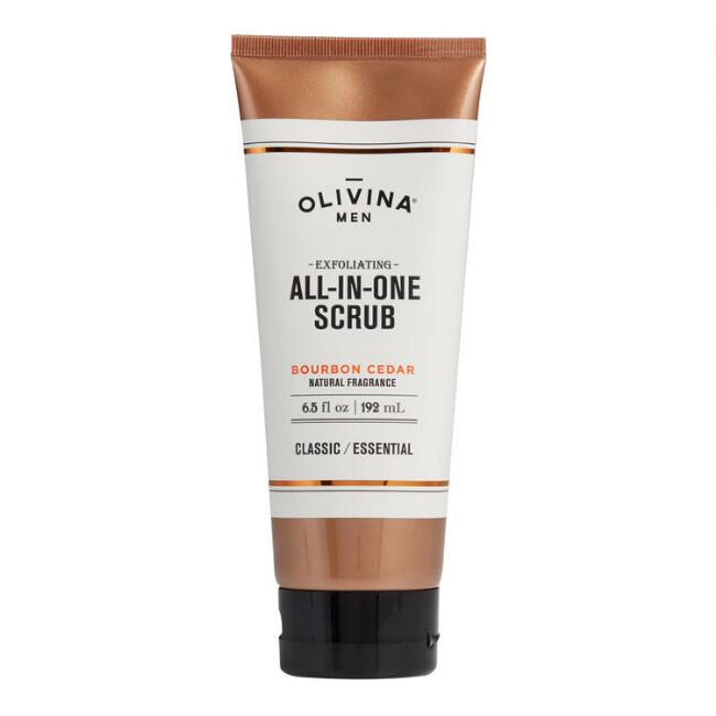 Olivina Men's Bourbon Cedar Exfoliating All-In-One Scrub