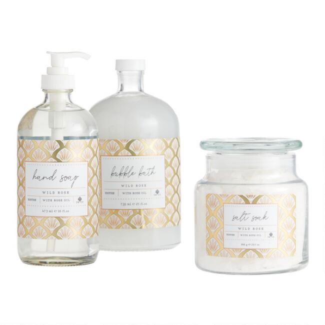 Holiday Gold Deco Rose Bath Collection