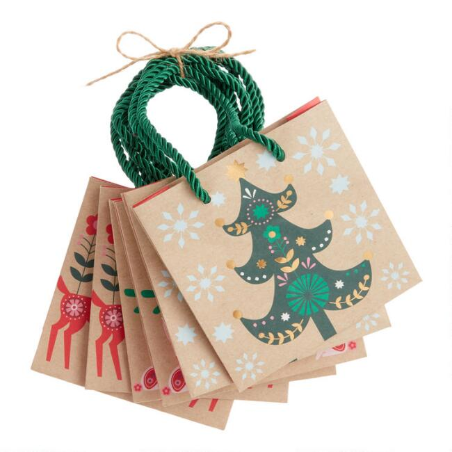 Mini Scandi Holiday Kraft Gift Bags 6 Pack