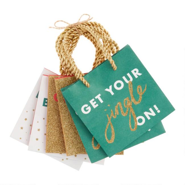 Mini Glitter Greetings Holiday Gift Bags 6 Pack