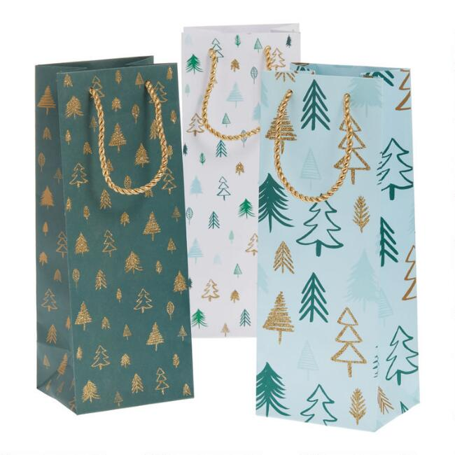 Green and Gold Tree Holiday Wine Bags 3 Pack