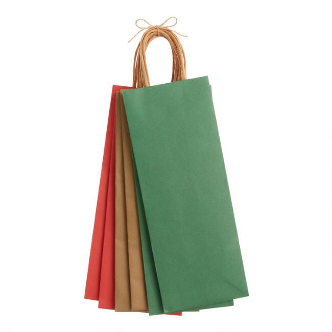 Solid Color Holiday Wine Bags 6 Pack
