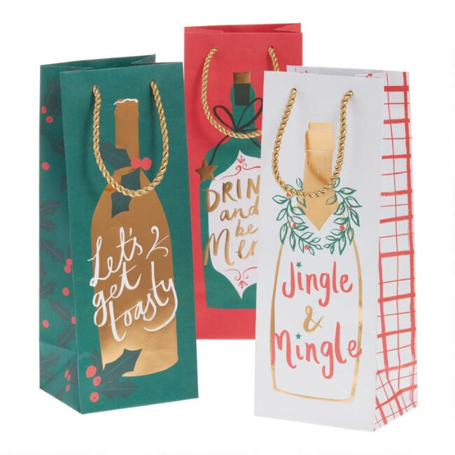 Merry Greetings Holiday Wine Bags 3 Pack