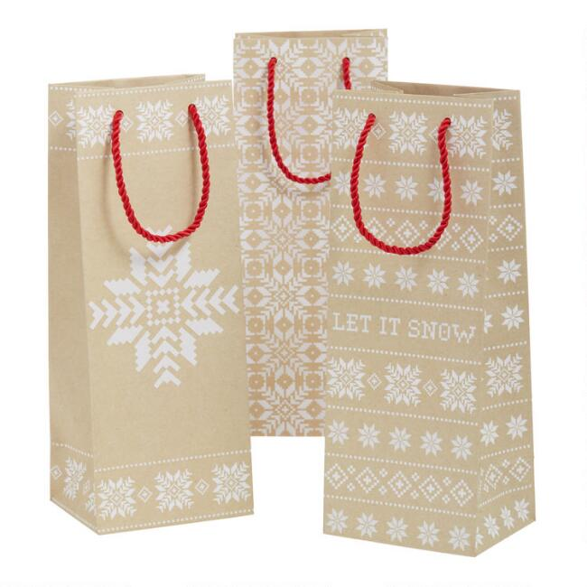 Fair Isle Snowflake Holiday Kraft Wine Bags 3 Pack
