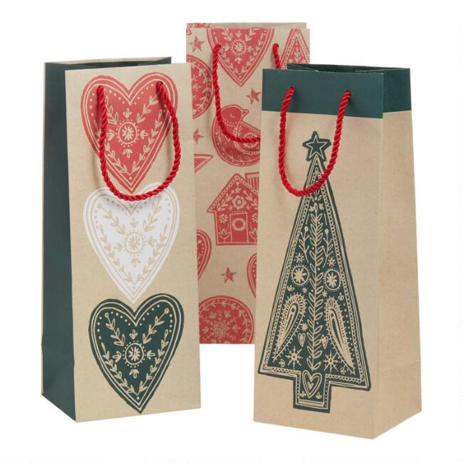 Scandi Holiday Kraft Wine Bags 3 Pack