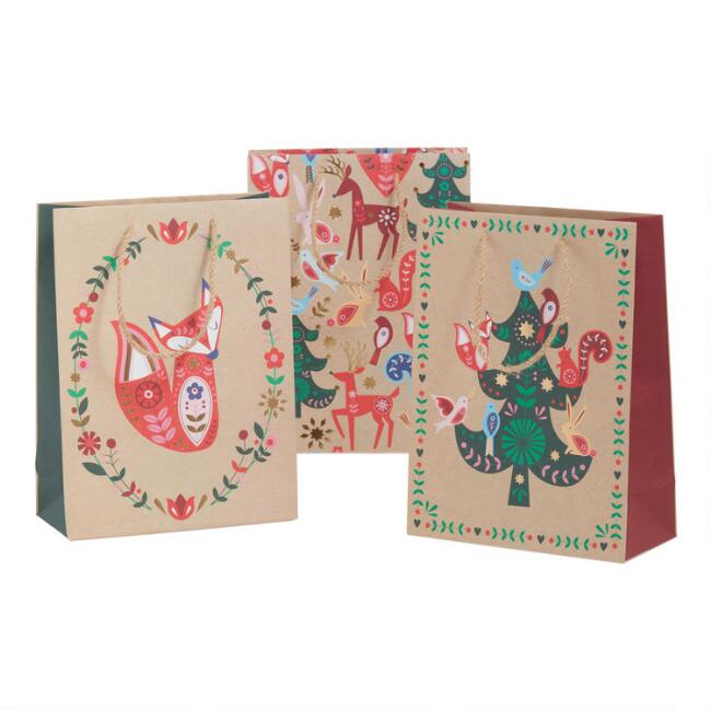Medium Woodland Holiday Kraft Gift Bags 3 Pack