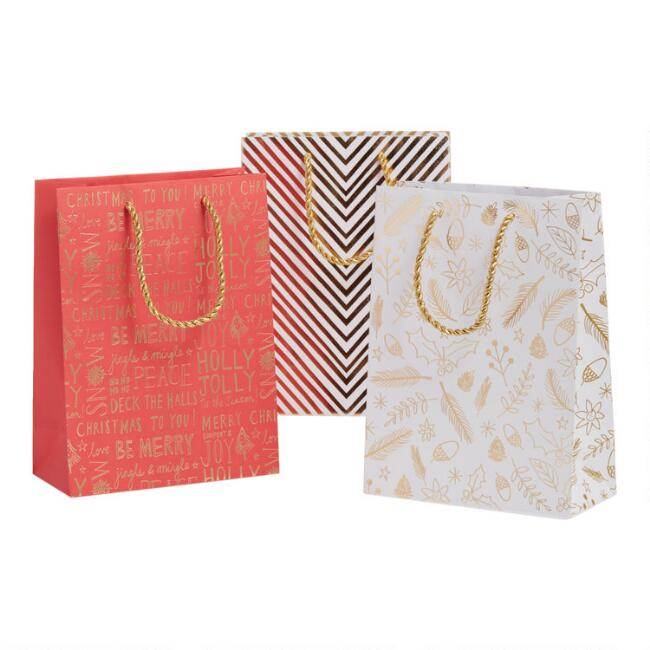 Medium Gold Leaves And Text Holiday Gift Bags 3 Pack