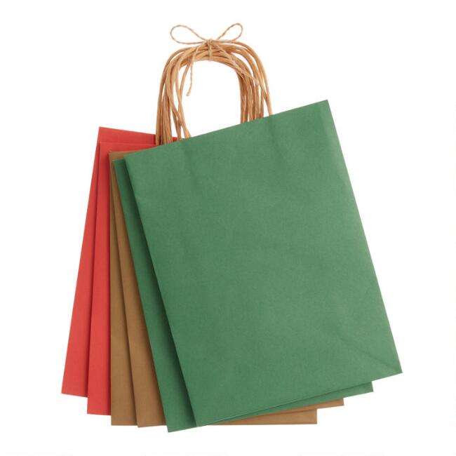 Medium Solid Color Holiday Gift Bags 6 Pack