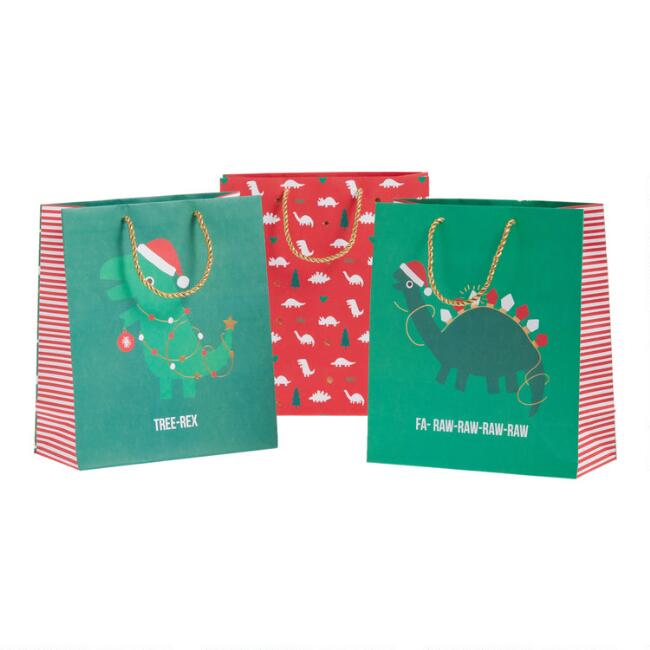 Large Dinosaur Holiday Gift Bags 3 Pack