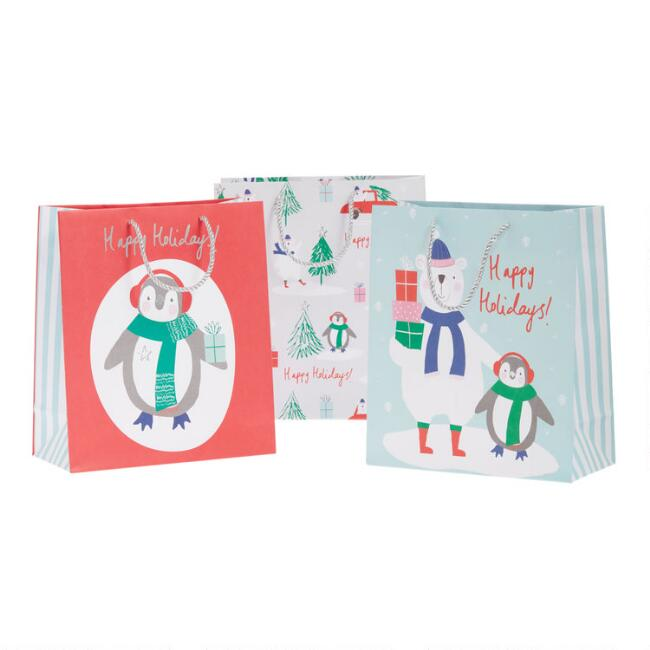 Large Penguin Holiday Gift Bags 3 Pack