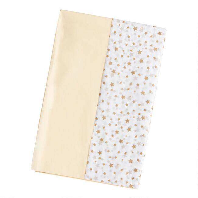Solid Cream And Gold Star Tissue Paper