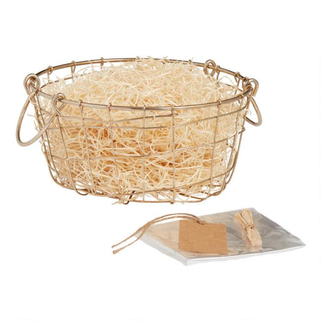 Gold Wire Double Handle Gift Basket Kit