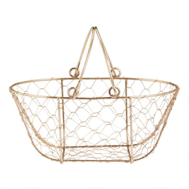 Mini Gold Wire Basket With Handles
