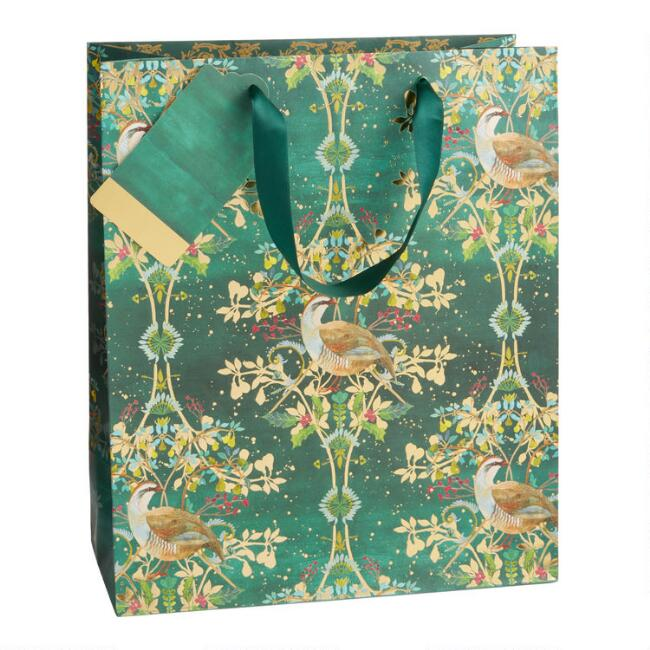 Large Deco Partridge Holiday Gift Bag