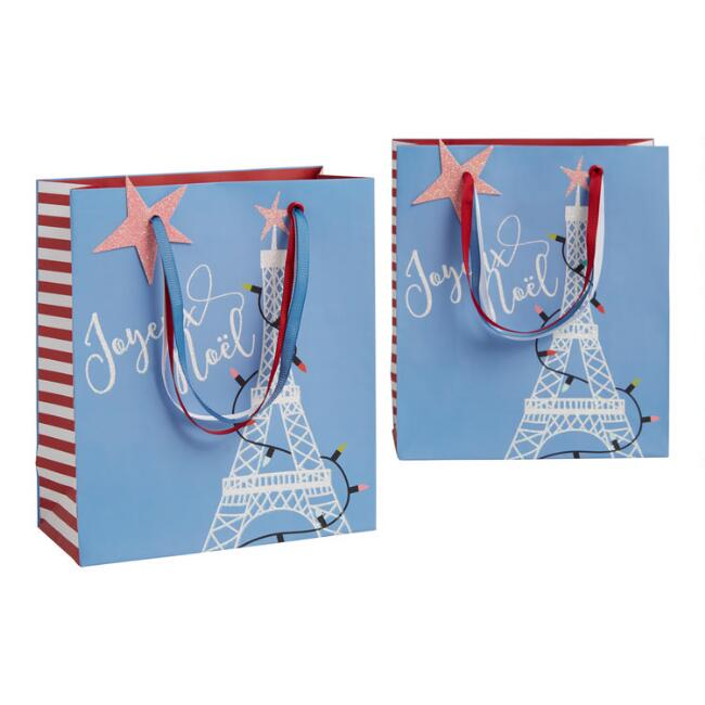 Small Eiffel Tower Holiday Gift Bags Set Of 2