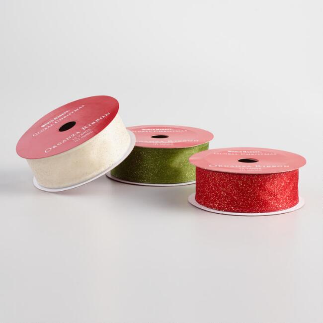 Solid Color Glitter Organza Holiday Ribbons Set Of 3