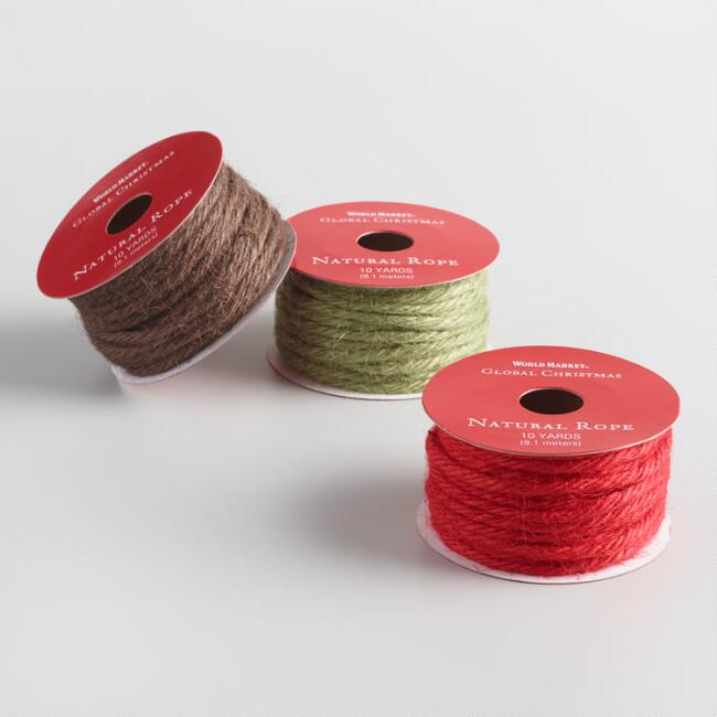 Solid Color Jute Rope Holiday Ribbons Set Of 3