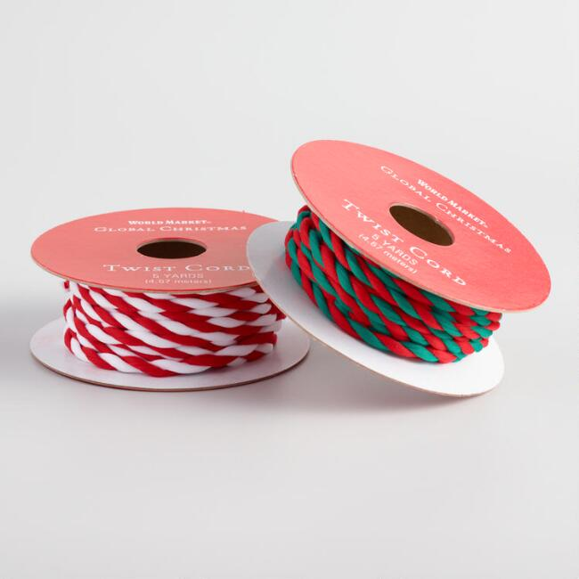 Multicolor Twist Cord Holiday Ribbons Set Of 2