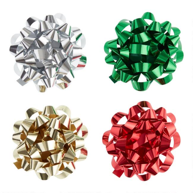 Large Star Holiday Gift Bows 4 Pack