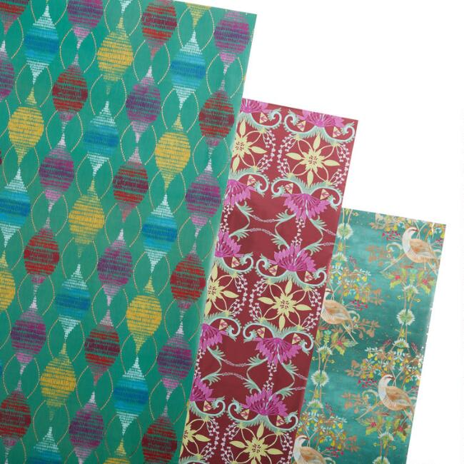 Deco Holiday Wrapping Paper Rolls 3 Pack
