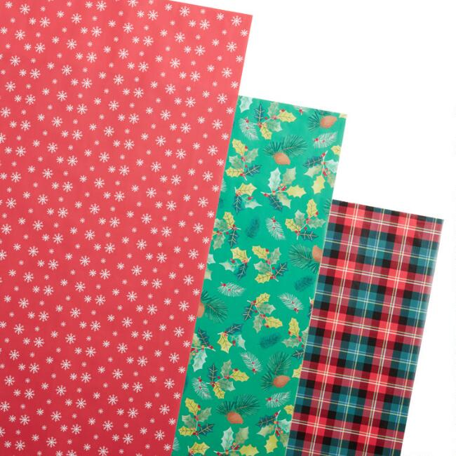 Holly And Snowflakes Holiday Wrapping Paper Rolls 3 Pack