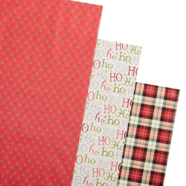 Trees And Ho Ho Ho Holiday Wrapping Paper Rolls 3 Pack