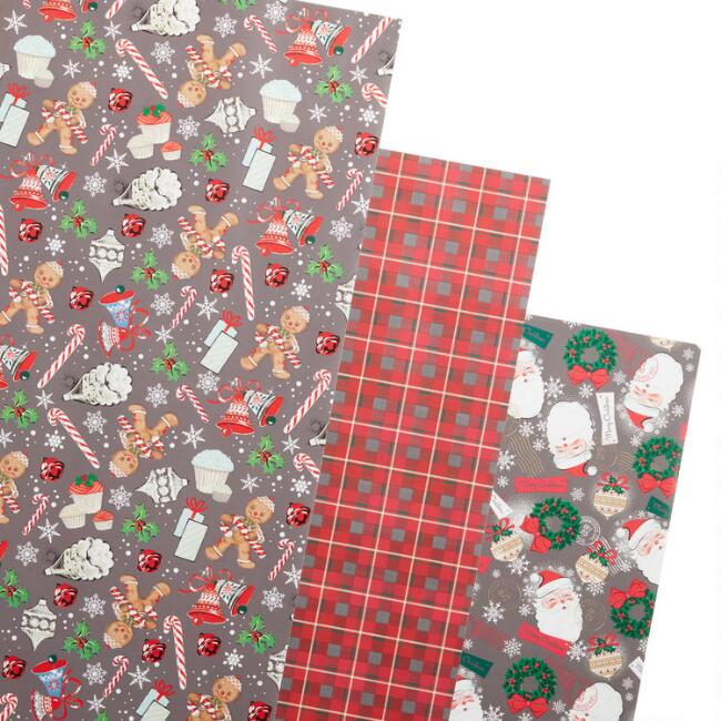 Retro Holiday Icon Wrapping Paper Rolls 3 Pack