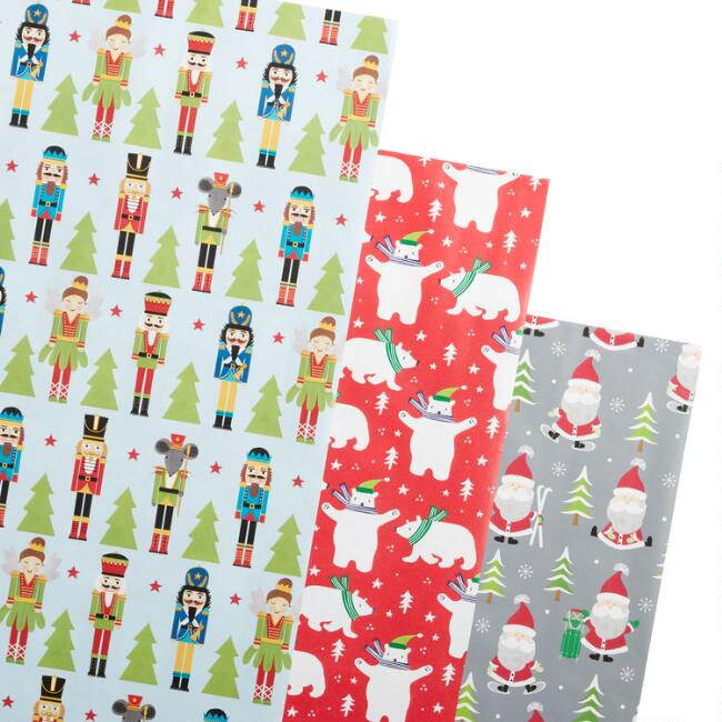 Christmas Characters Holiday Wrapping Paper Rolls 3 Pack