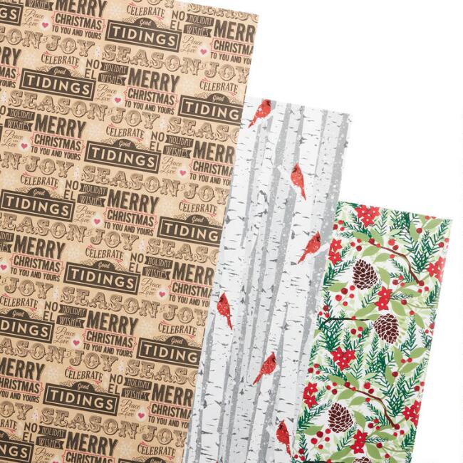 Trees And Tidings Holiday Wrapping Paper Rolls 3 Pack