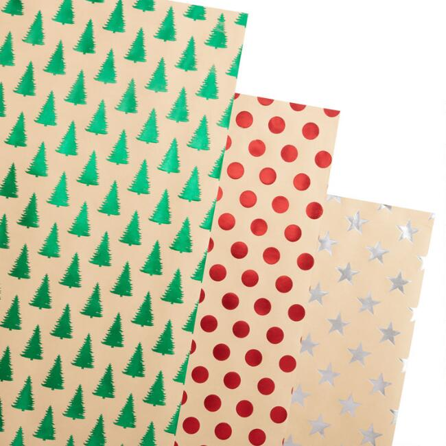 Foil Designs Holiday Kraft Wrapping Paper Rolls 3 Pack
