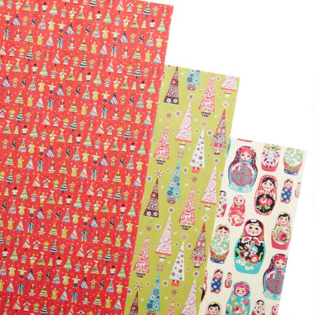 Trees And Dolls Holiday Wrapping Paper Rolls 3 Pack