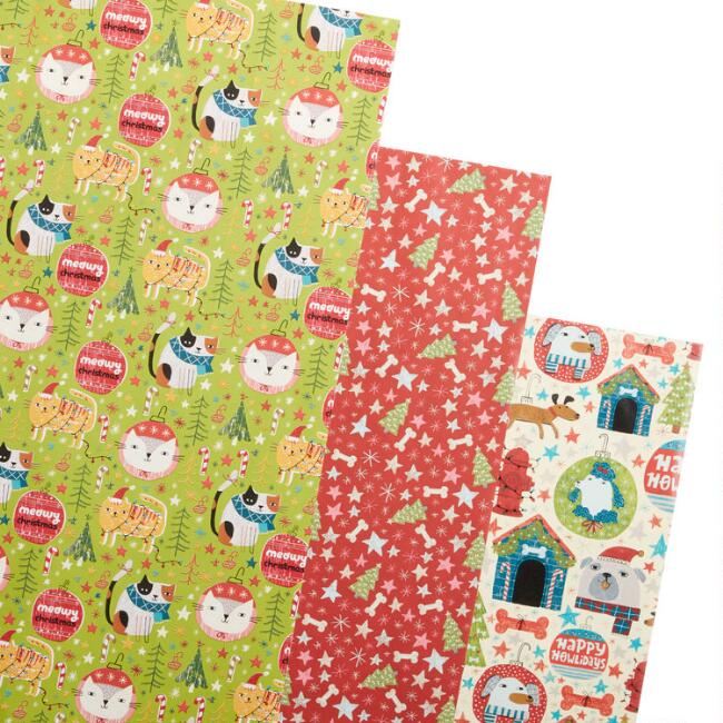 Dogs And Cats Holiday Wrapping Paper Rolls 3 Pack