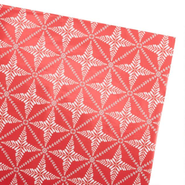 Red Nordic Star Holiday Wrapping Paper Roll