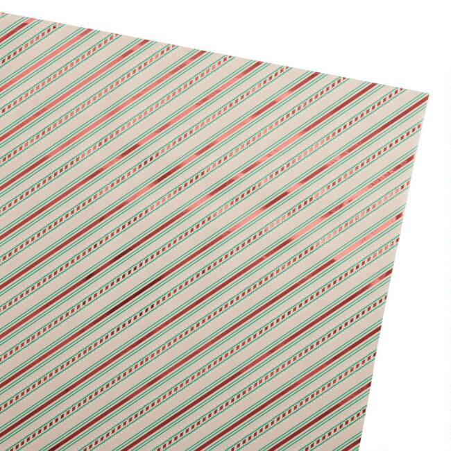 Red Striped Holiday Kraft Wrapping Paper Roll