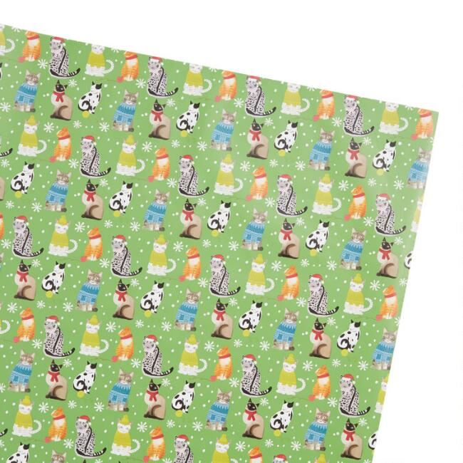 Green Cats Holiday Wrapping Paper Roll