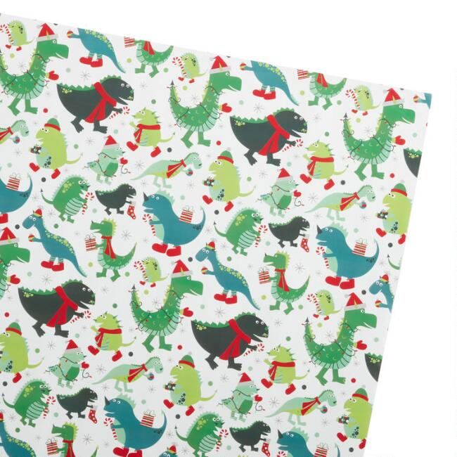 White Dinosaurs Holiday Jumbo Wrapping Paper Roll